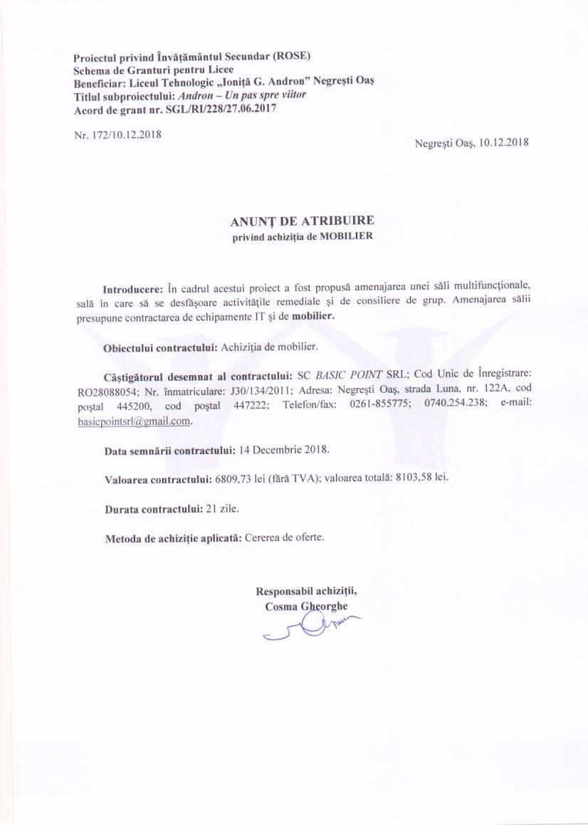 Anunț de atribuire contract furnizare mobilier
